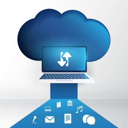 Cloud Computing Technology Design Concept with Laptop and Icons - Digital Network Connections, Internet Services - Data Synced Across Devices Accessing the Cloud Account