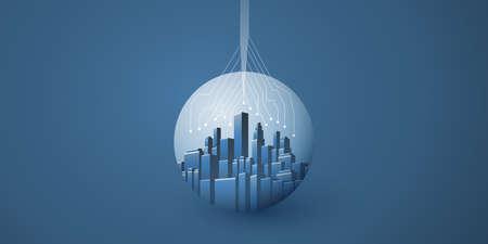 Illustration pour Smart City, Cloud Computing Design Concept with Cityscape in a Transparent Globe - Digital Network Connections, Technology Background - image libre de droit