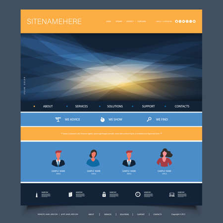 Illustration for Website Design Template for Your Business with Orange and Blue Wavy Gradient Texture in the Header - Royalty Free Image