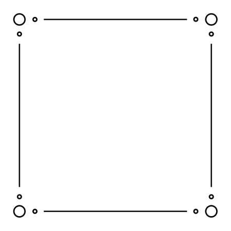 Illustration pour Black Geometric Frame Isolated on White - Geometrical Art Deco Style Template for Invitation Cards, Flyers - Line-Art Vector Design - image libre de droit