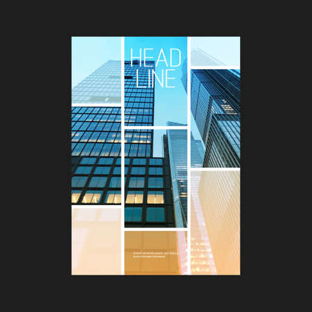 Illustration for Modern Style Flyer or Cover Design for Your Business with Skyscraper, Urban Theme - Applicable for Business Reports, Presentations, Placards, Posters - Royalty Free Image