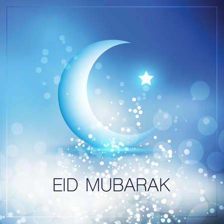 Illustration pour Eid Mubarak - Moon in the Sky - Greeting Card Design for Muslim Community Festival - image libre de droit
