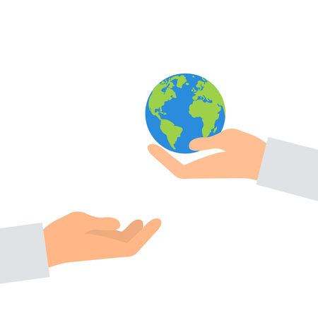 Illustration pour Concept of heritage earth for future generations. Adult pass hands globe in children s hands. Concept of protecting the planet. Hand holding planet. Concept ecology. Illustration vector flat icon eps10 eco - image libre de droit