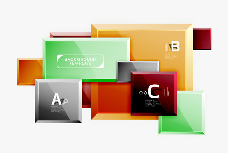 Illustration pour Geometrical design squares abstract banner, glossy shiny effects. Vector geometric minimal template - image libre de droit