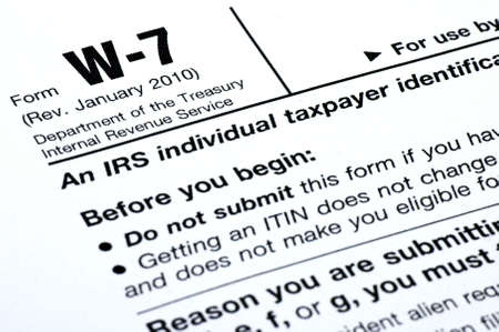 a closeup of parts of the irs form w-7
