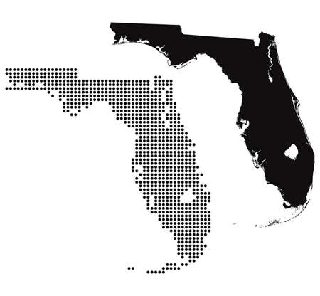 Dotted and Silhouette florida map