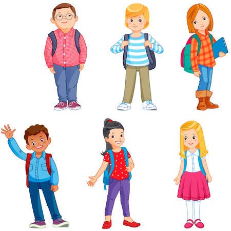 Illustration pour pupils with school backpacks - image libre de droit