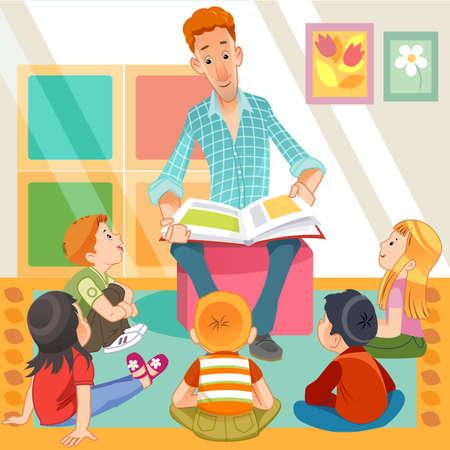 Illustration pour teacher reading for kids - image libre de droit