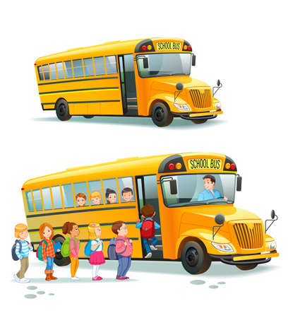 Illustration for Children get on school bus.Transportation pupil or student, transport and automobile. Vector illustration - Royalty Free Image