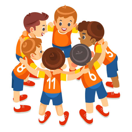 Ilustración de Young boys sports team on stadium. Football players in sportswear motivating before the match. Youth soccer tournament game for kids. Isolated vector illustration - Imagen libre de derechos