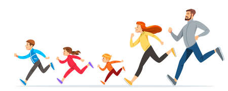 Foto per Happy Family with children running or jogging for sport and better fitness in summer. Good relations in family. Basic healthy care for people. Illustration for advertise running sport - Immagine Royalty Free