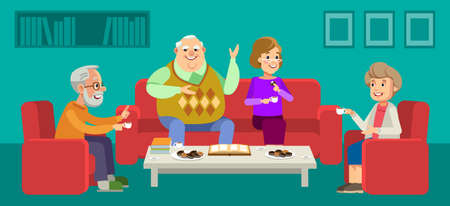 Illustration pour Seniors couple enjoying conversation with guests over cup of coffee at home. Happy grandparents day. Elder couples enjoying time together. Vector illustration in flat style - image libre de droit