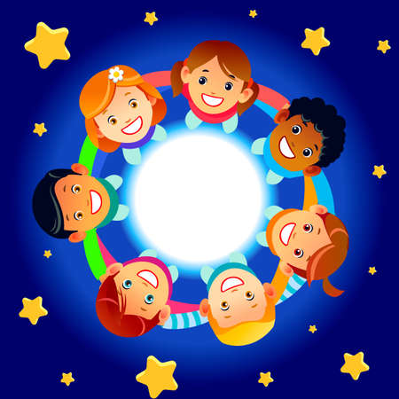Illustration for Happy children hold hands and dance in a circle. Cute boys and girls have fun on the background of stars. Cartoon vector illustration - Royalty Free Image