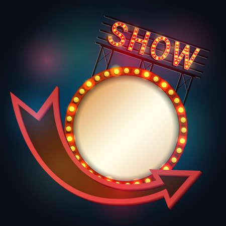 Illustration pour Vector illustration of Showtime signboard retro style with light frame - image libre de droit