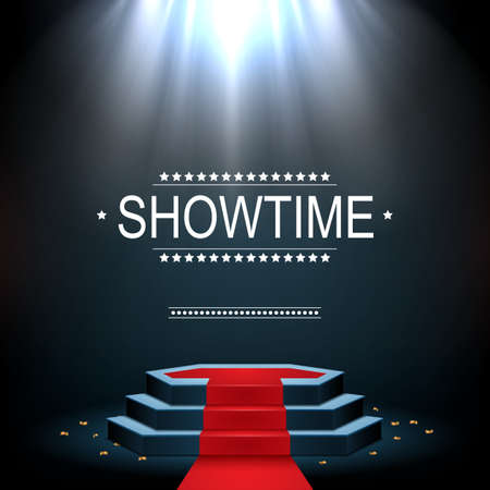 Illustration pour Vector illustration of Showtime banner with podium and red carpet illuminated by spotlights - image libre de droit