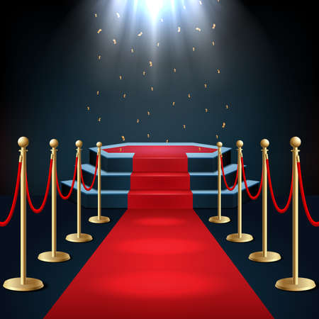 Illustration pour Vector illustration of Podium with red carpet and barrier rope in glow of spotlights - image libre de droit