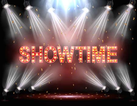 Illustration pour Vector illustration of Showtime background illuminated by spotlights - image libre de droit
