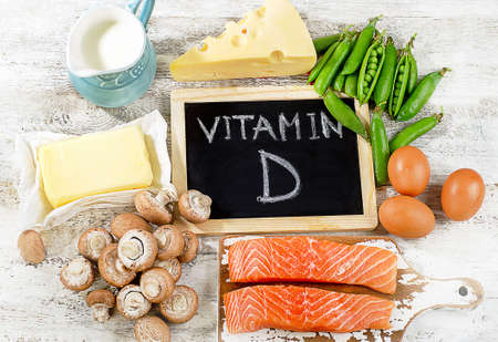 Foods rich in vitamin D. Top view