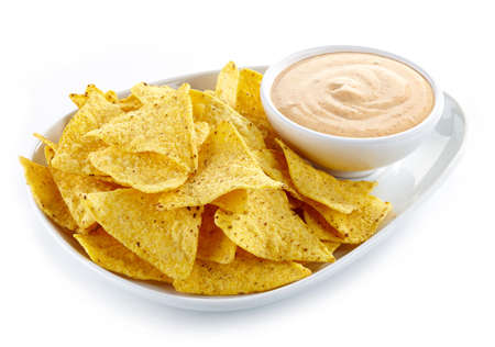 Plate of nachos and dip