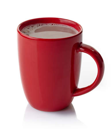 Red mug of hot chocolate drink isolated on white background