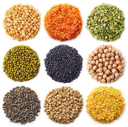 collection of legumes (chickpeas, green peas, red lentils, canadian lentils, indian lentils, black lentils, yellow lentils, yellow peas, red beans, green mung beans) isolated on white backgroundの写真素材