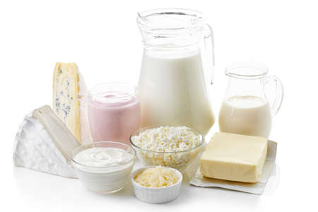 Photo pour Various fresh dairy products isolated on white background - image libre de droit