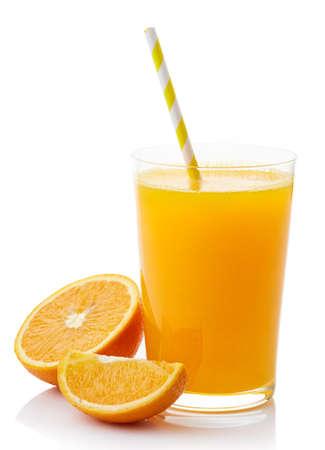 Foto de Glass of fresh orange juice isolated on white background - Imagen libre de derechos