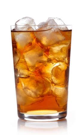 Glass of lemon ice tea isolated on white background