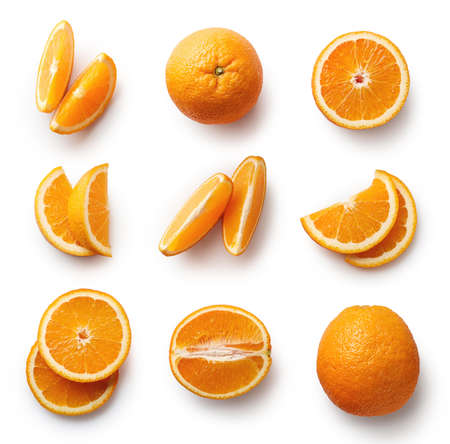 Set of fresh whole and cut orange and slices isolated on white background. From top viewの写真素材