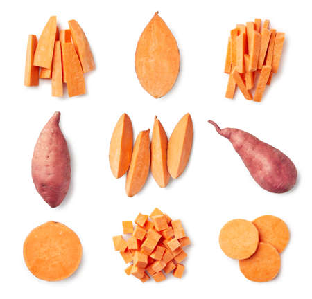 Photo for Set of fresh whole and sliced sweet potatoes isolated on white background. Top view - Royalty Free Image