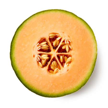 Foto de Half of melon isolated on white background, top view - Imagen libre de derechos