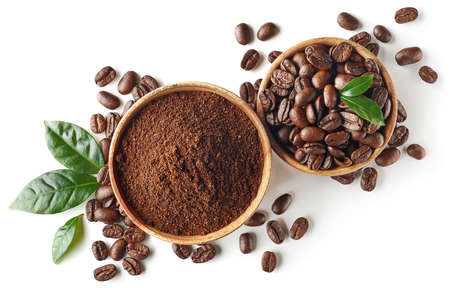 Photo for Bowl of ground coffee and beans isolated on white background, top view - Royalty Free Image