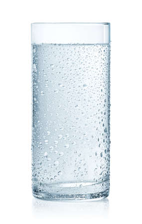 Photo for Glass of cold still water with drops isolated on white background - Royalty Free Image