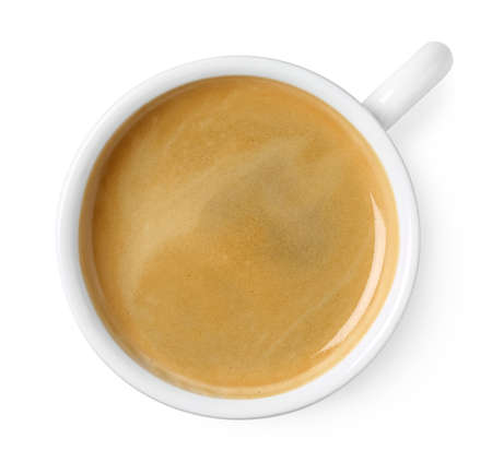 Photo pour Cup of black coffee isolated on white background, top view - image libre de droit