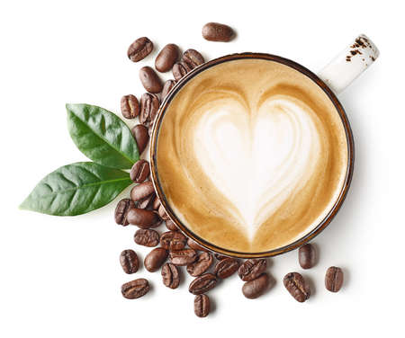 Photo for Cup of coffee latte or cappuccino art with heart shape drawing and beans isolated on white background - Royalty Free Image