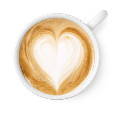 Photo for Cup of coffee latte or cappuccino art with heart shape drawing isolated on white background, top view - Royalty Free Image