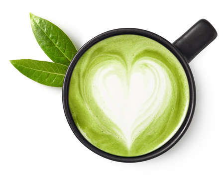 Photo for Cup of green tea matcha latte with heart shaped art isolated on white background, top view - Royalty Free Image