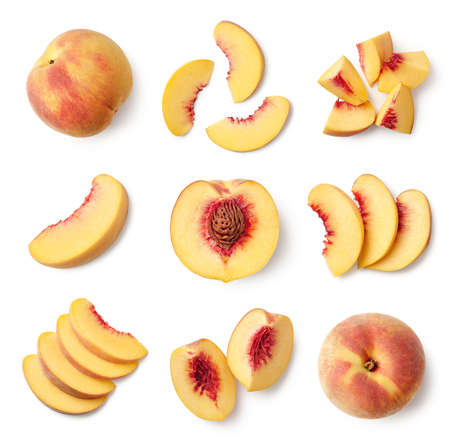 Foto de Set of fresh whole and sliced peach fruit isolated on white background, top view - Imagen libre de derechos
