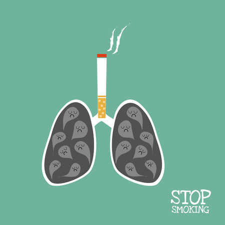 lungs which black smoke and cigarette above it and word \ stop smoking\.
