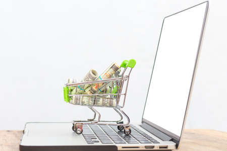 Photo pour Bank money in cart on the notebook with on white background, - image libre de droit