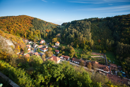 Village in the middle of the forest, natural landscape