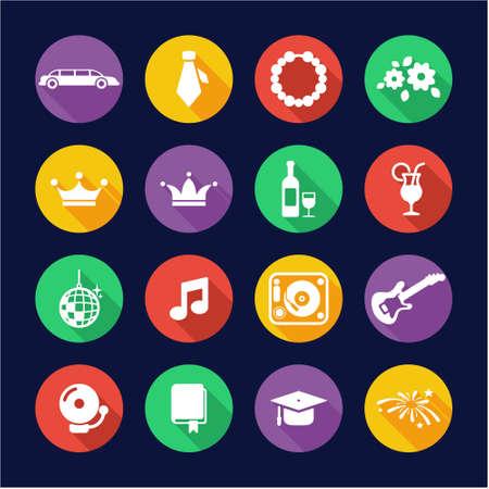 Prom Icons Flat Design Circle
