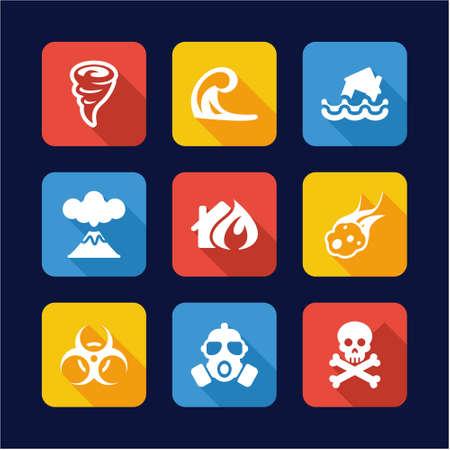 Illustration pour Armageddon Icons Flat Design - image libre de droit