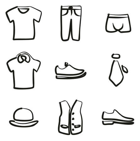 Mens Clothing Icons Freehand