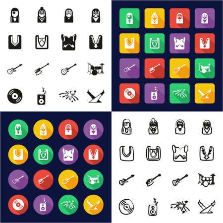 Kiss All in One Icons Black & White Color Flat Design Freehand Set