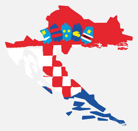 Croatia flag and map vector hand painted with rounded brush ...