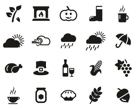 Vektor für Autumn Or Fall Icons Black & White Set Big - Lizenzfreies Bild