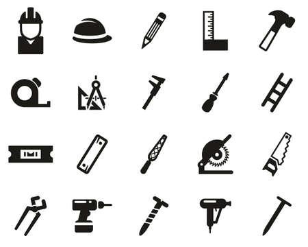 Illustration for Carpenter Icons Black & White Set Big - Royalty Free Image