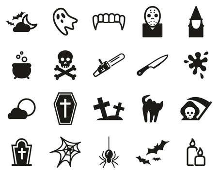 Illustration pour Horror Or Scary Icons Black & White Set Big - image libre de droit