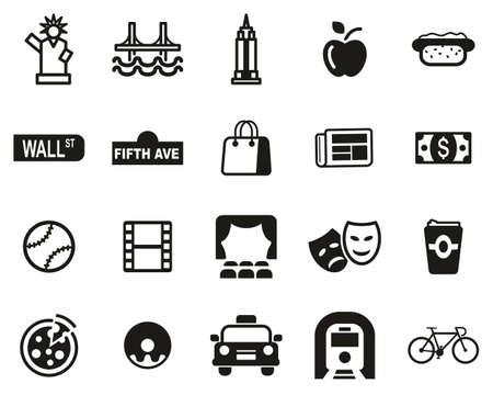 Illustration for New York City & Culture Icons Black & White Set Big - Royalty Free Image